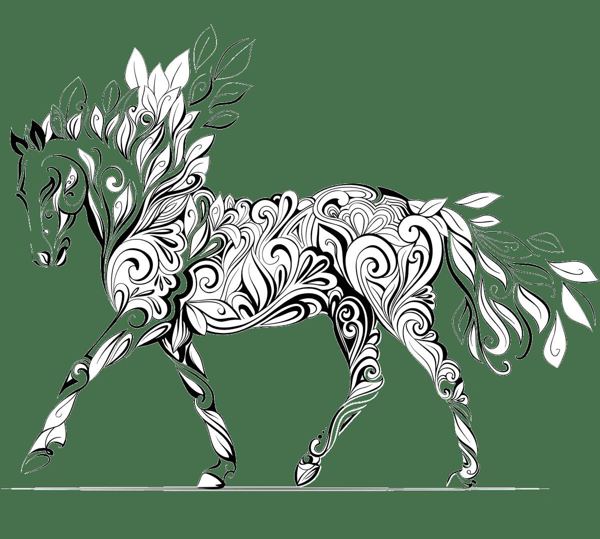 Раскраска антистресс лошади