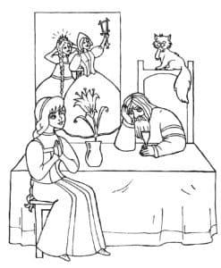 раскраска аленький цветочек для детей