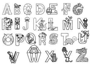 английский алфавит детский раскраска