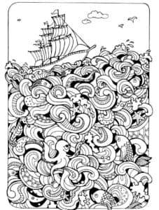 корабль и волны