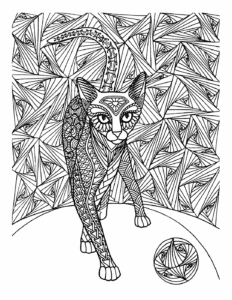 раскраска кот и мяч