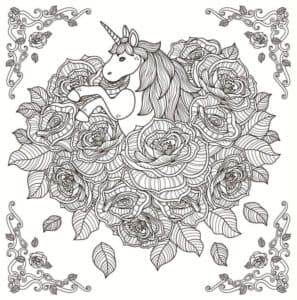 лошадка с рогом в цветах