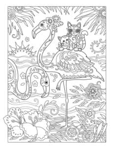раскраска фламинго и кот
