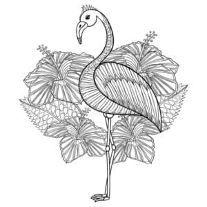 антистресс фламинго и цветы