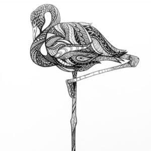 фламинго на одной ноге