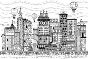 дома и воздушные шары
