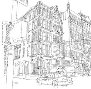 здание и машина раскраска