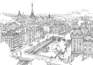 картинка город для раскраски
