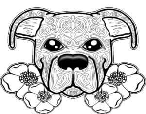 морда собаки и цветы