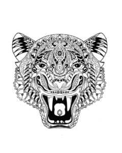 голова тигра с зубами