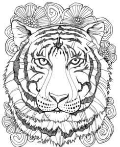 голова тигра с цветами