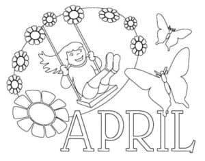 девочка на качеле в апреле