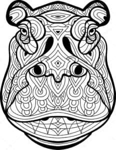 раскраска арт-терапия бегемот