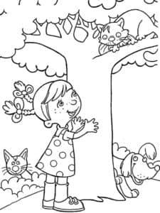 девочка и кот на дереве