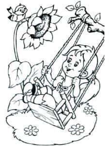 мальчик на качеле