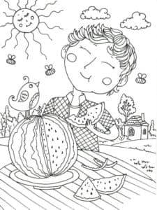 мальчик кушает арбуз