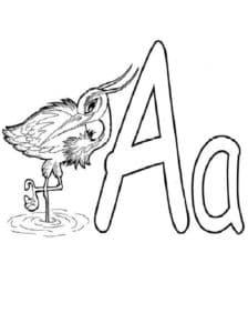 Буква А с аистом