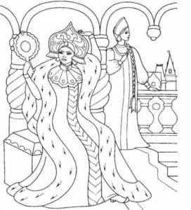 царевна и семь богатырей раскраска