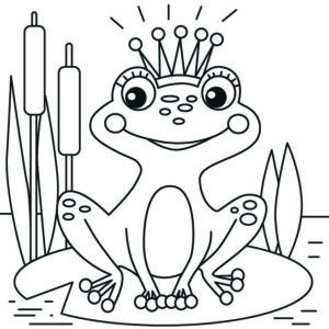 раскраска лягушка с короной
