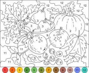 цифры овощи раскраска