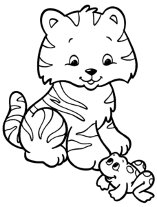тигренок и лягушка
