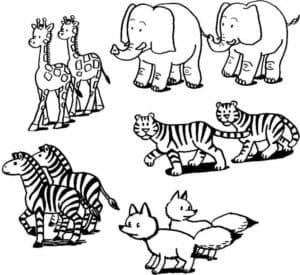 дикие животные раскраска
