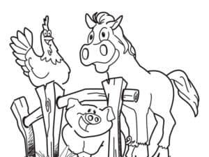 лошадь свинья и петух