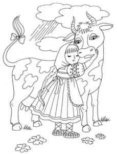 корова и девочка