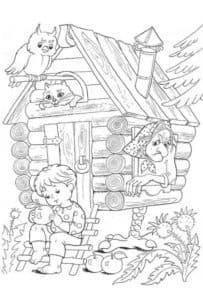дом бабы яги раскраска