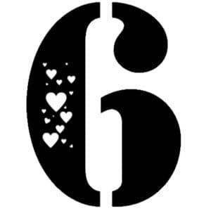 6 с сердечками
