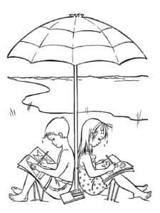 летом под зонтиком