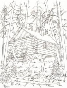 раскраска избушка в лесу