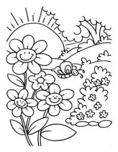 цветочки и бабочка