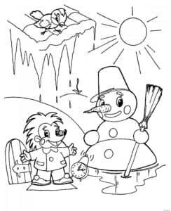 снеговик на солнце