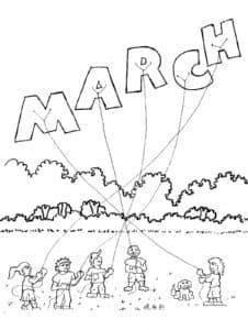 март раскраска для детей