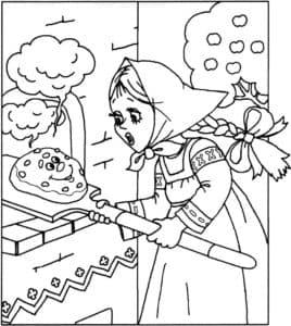 рукодельница печет колобка