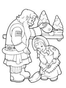 дедушка мороз и девочка подметает