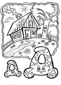 раскраска дом и буква Д