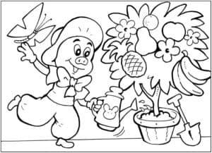 поросенок и цветы