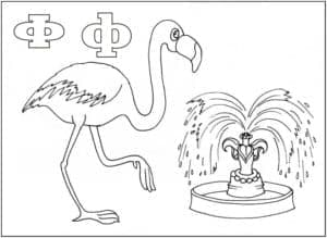 Фламинго раскраска буквы Ф