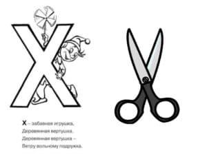 буква Х и ножницы