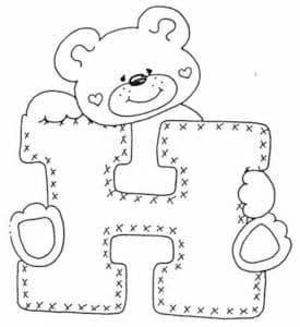Медвежонок раскраска с буквой Н