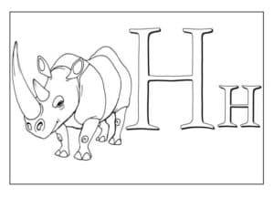 Носорог детская раскраска алфавит