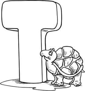 Буква Т с черепахой раскраска для детей