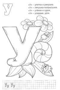 Буква У с цветами детская раскраска