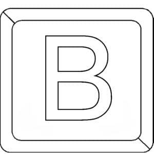 буква В в квадратике