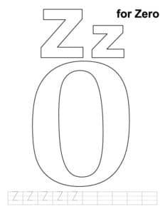 цифра 0 спит раскраска