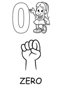 раскраска для детей 0 и кулак