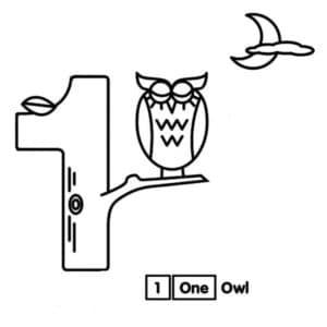 раскраска цифра 1 и сова