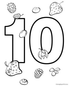 раскраска цифра 10 клубничек